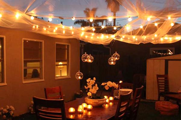 backyard party lighting ideas. globe lights u0026 tulle backyard party lighting ideas