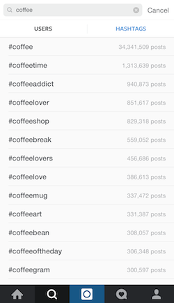 Search for coffee-related hashtags