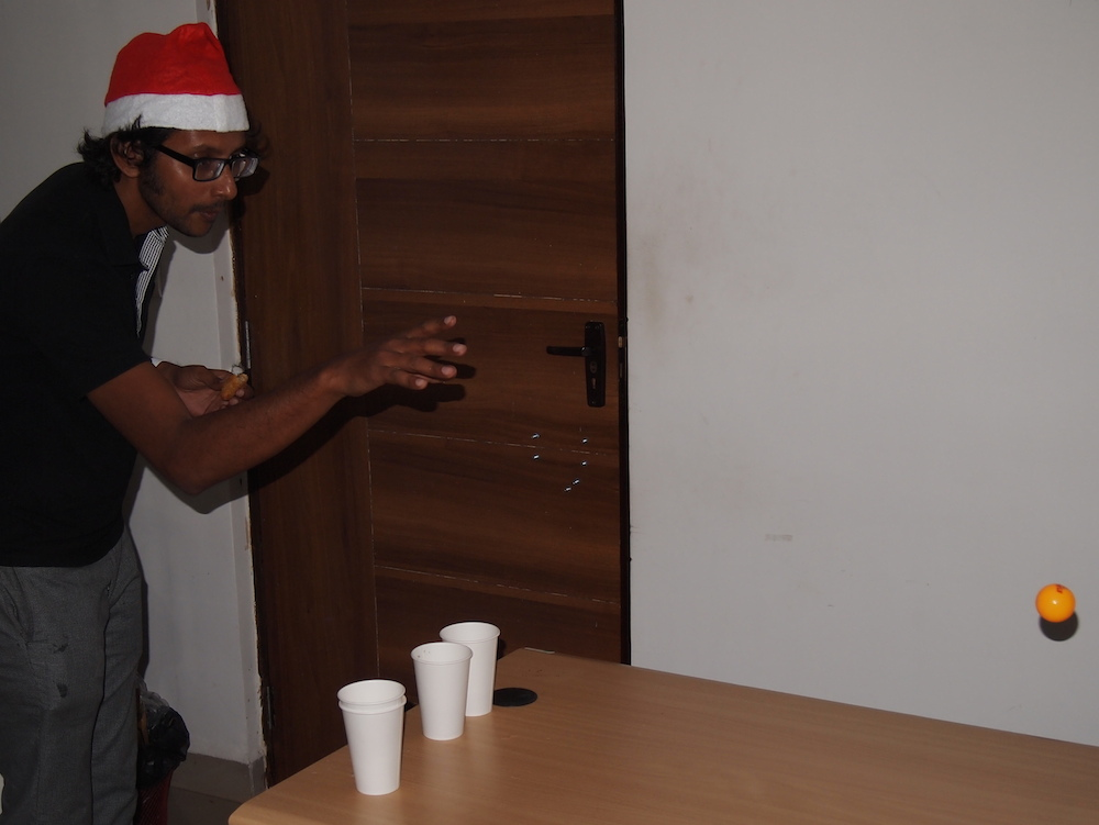 CTO Indrajit Chowdhury playing beer pong