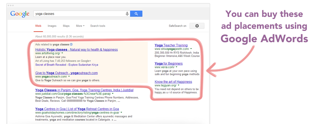 AdWords Ad placements in Google search results