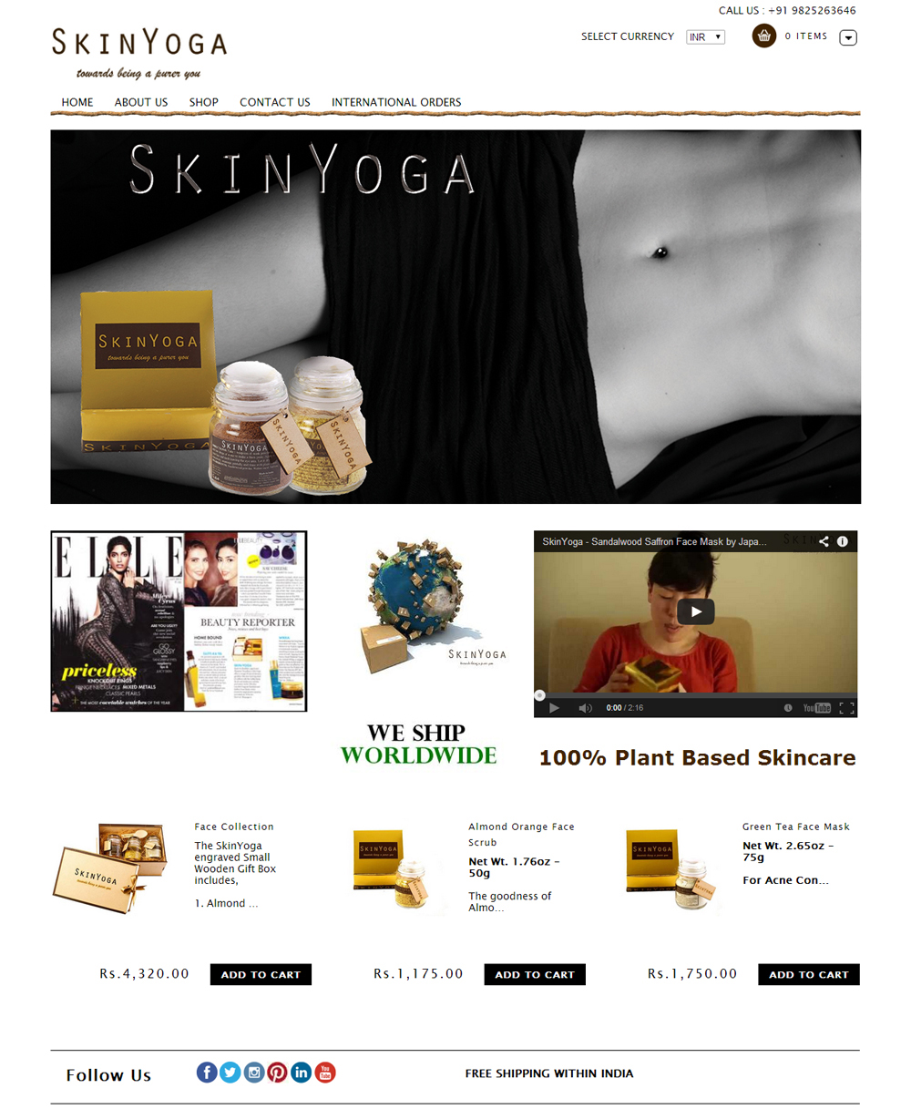 SkinYoga.in home page