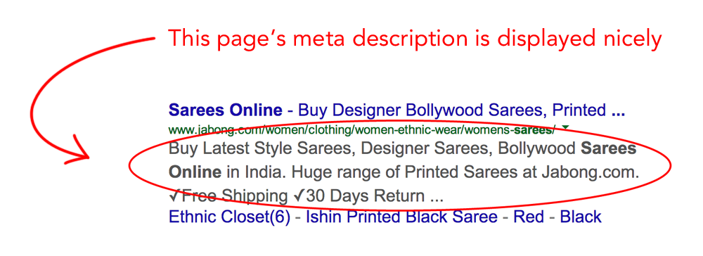 an example of a site listing with a meta description