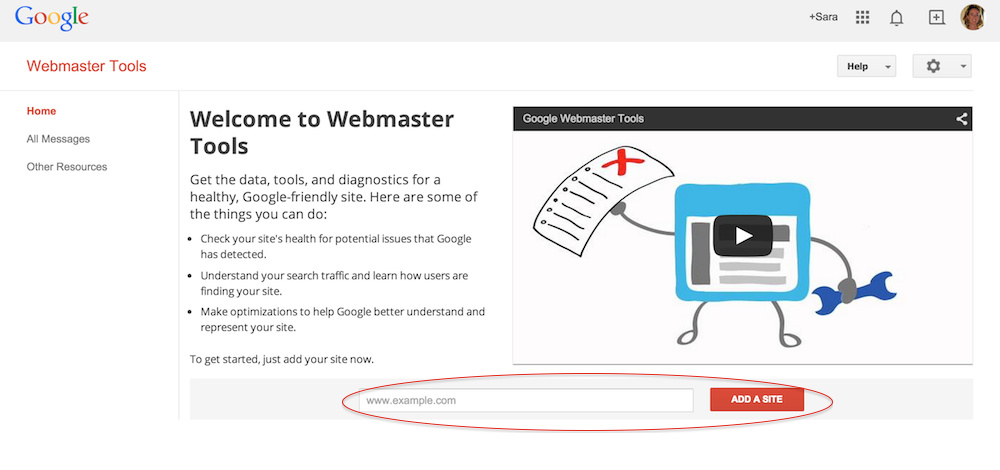 Google Webmaster Tools website - Add a Site