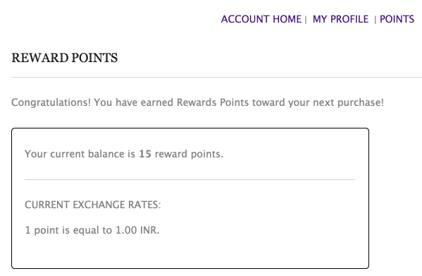 Registered Customers can view their points on My Account page
