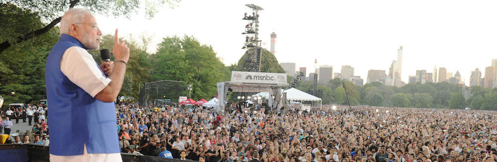 Modi addresses an audience in New York's Central Park