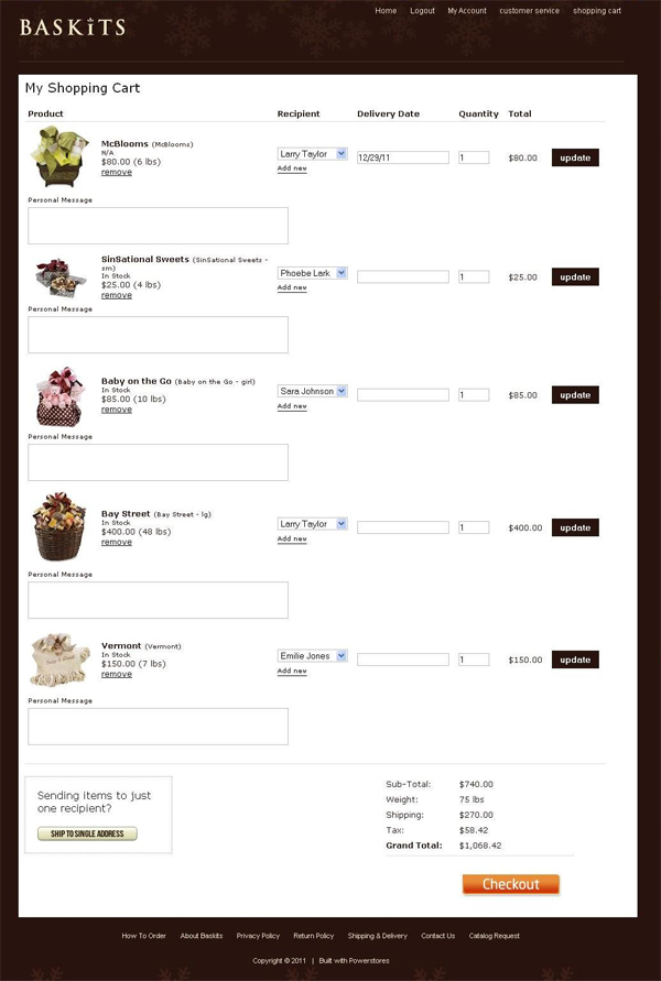 3) Select a recipient for each item in your shopping cart