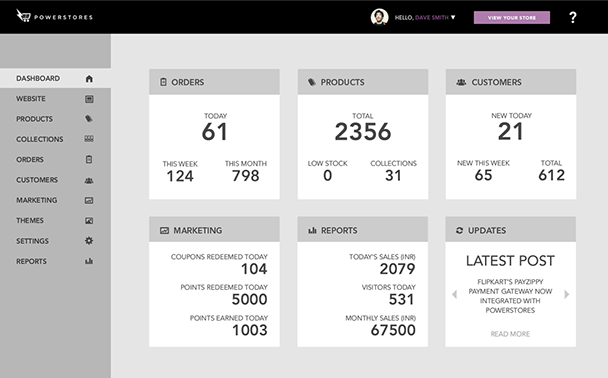 New PowerStores dashboard