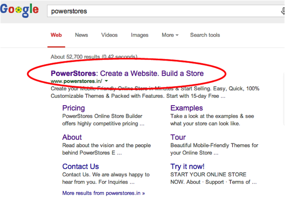 PowerStores homepage title tag in Google Search