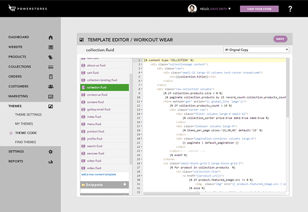 Our template editor gives you access to the HTML/CSS code for further customization