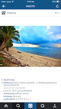 Billabong's Instagram post reinforces the Billabong brand